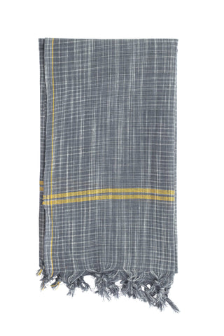 Grey Khadi Bath Towel by Anhad Craft. Handwoven in India. Handwoven cotton khadi towel featuring contrast pink stripe and fringed edge details. Color grey. 100% cotton khadi.
