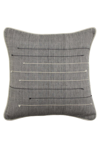 Khadi Chambray Cotton Cushion by Anhad Craft. Hand printed in India. Keeping our love for natural, handmade textiles alive, this woven pillow transcends the conventional and brings in an urban edge. Woven khadi cushion cover featuring contrast embroidered stripes. Color gray. 100% cotton khadi.