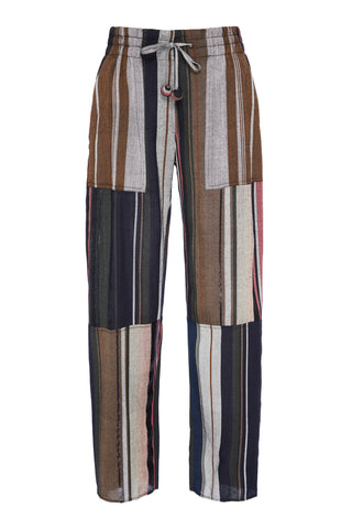 Apiece Apart Fall 2018 Floris Casual Pant in Multi Stripe. Features a midrise waist, patchwork detail, and straight leg silhouette. Pull-on style with elastic waistband and tie front closure. Metallic detail. Fits true to size. Unlined. Made in India. Color multi stripe. 90% Rayon, 5% Cotton, 5% Lurex. Sizes 0 2 4 6 8.