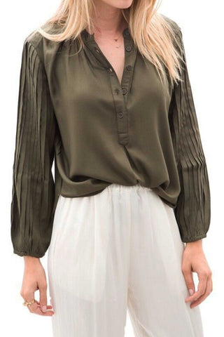 Bravo Military Pintuck Blouse