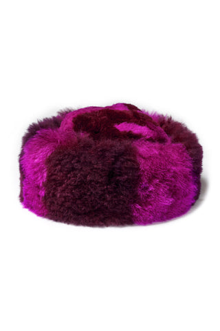 "A Peace Treaty Fall 2018 Sheba Hat in Fuchsia. Cruelty-free baby alpaca fur hat in fuchsia and maroon. Fully lined. Handmade in Peru. 8.5"" diameter. Color pink red. 100% baby alpaca. One size."