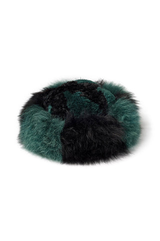 "A Peace Treaty Fall 2018 Sheba Hat in Green. Cruelty-free baby alpaca fur hat in green and black. Fully lined. Handmade in Peru. 8.5"" diameter. Color green black. 100% baby alpaca. One size."