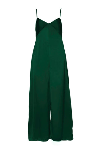 "A Peace Treaty Fall 2018 Vytas Jumpsuit in Green. Wide leg jumpsuit in forest green with v-neckline and bust seam details. Sleeveless v-neck jumpsuit. Unlined. Made in India. 57"" in length. Color green. 100% silk satin. Sizes small medium large."
