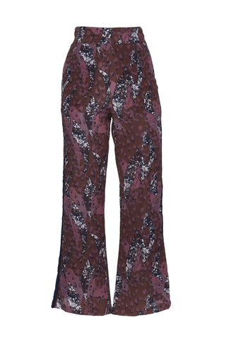 "A Peace Treaty Fall 2018 Yatta Flare Pant in Wine. Flare pant with animal inspired print in currant and berry tones. Featuring navy braid detail along side racer stripes. Made in India. 38"" in length. Color maroon navy. 100% silk crepe. Sizes small medium large."