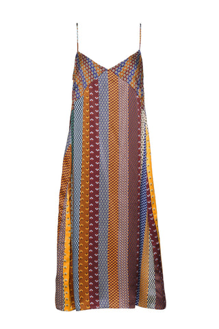 "A Peace Treaty Fall 2018 Yohai Slip Dress. Satin slip dress with mixed tie print in multi color. Sleeveless v-neck slip dress with bust seam details. Unlined. Made in India. 44"" in length. Color multi. 100% silk satin. Sizes small medium large."