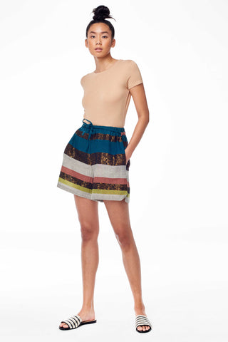 A Peace Treaty Spring 2018 Tomar Short. Highwaisted mini short with hidden pockets and drawstring waist in a graphic stripe print. Small measures 15.5 inches from waist to hem. Color Green. 50% silk, 40% cotton, 10% lurex. Sizes Small Medium Large.
