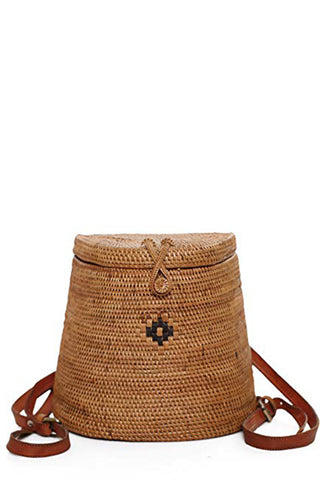 Ata Basket Backpack by The Winding Road. Handcrafted in Indonesia. These beautiful Ata Bags are hand crafted by Balinese women working from their homes in the Tenganan Village in Eastern Bali. The women are master weavers with skills that have been passed down and perfected over many generations. Color brown.