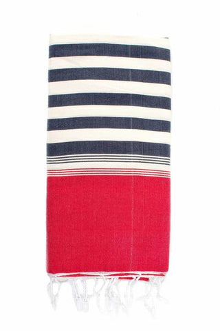 "The Fouta Hammam Towel by Bohemia Design is handwoven on wooden looms in Morocco from beautifully tactile cotton mix. Generous in size and incredibly versatile, complete with twisted tassels to finish the ends. Perfect for the beach, pool, kitchen table and bathroom. Ethically Handwoven in Morocco. 80% Cotton & 20% Acrylic Available in Pink Mustard Red Cobalt. 75"" x 35"" / 190 x 90 cm"