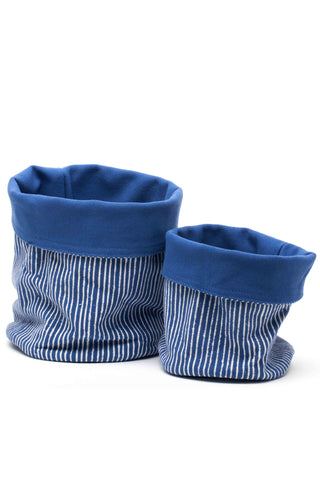 Indigo Stripe Canvas Storage Pots
