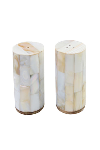 Shell Mosaic Salt and Pepper Shakers from Be Home. These salt and pepper shakers are handcrafted by a workshop in Vietnam from Clamp Pinctada Maxima shells, which are not on any endangered list. Perfect for entertaining and makes a great hostess gift.