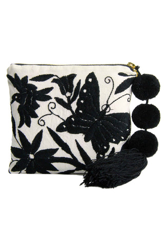 Camila Black Otomi Embroidered Pouch