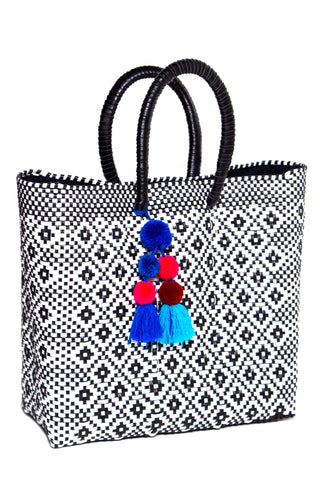*Exclusive Stella B&W Woven Tote with Pom Pom Tassel