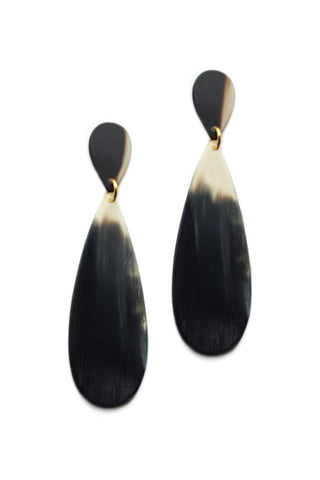 "Bluma Project Fall 2018 Adair Earring in Black. Adair combines an elegant horn teardrop with a smaller carved horn post. A simple, sophisticated statement earring to take you from day to night. Post earring. Part of the natural horn collection created with artisans in Guatemala. 2.5"" drop. Color black Gold plated brass, natural cow horn. One size."