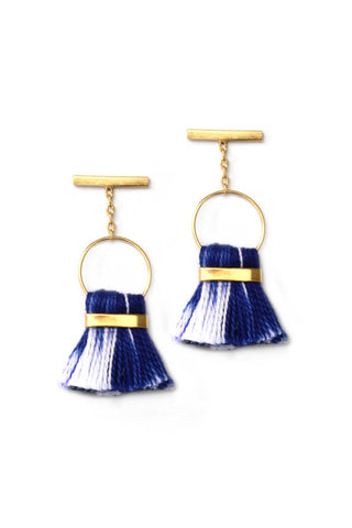 Bluma Project Spring 2018 Halle Earring in Blue Ikat. Mini linen tassel earring with delicate bar post. Post fastening for pierced ears. Handmade in Guatemala. 1 inch drop. Color blue white gold. Gold plated brass, linen. One size.