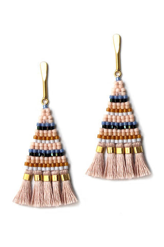 Bluma Project Spring 2018 Sadie Earring in Pink. Petite beaded triangle statement earring with fringe detail. Beaded dangle earring with a tassel fringe on a delicate gold-washed post. Post fastening for pierced ears. Made by artisans in Guatemala. 2.25 inch drop. Color blush gold. Glass and 24k gold beads, linen, gold plated brass. One size.