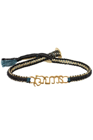 """Brave"" Black Cobra Stitch Bracelet"