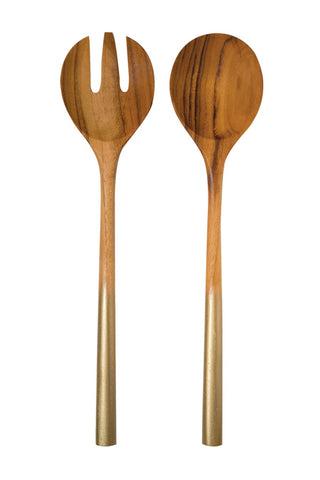 Teak Salad Server Set with Gold Handles