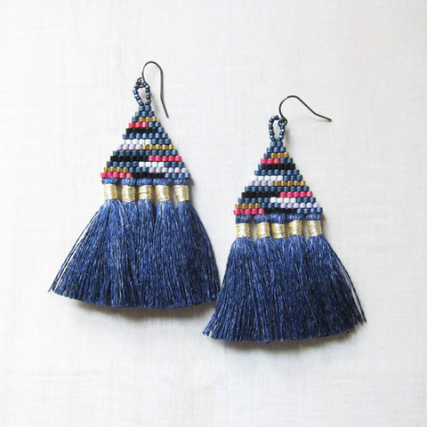 Talitha Beaded Fringe Denim Earrings