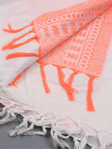 Embroidered Neon Coral Sarong/Scarf