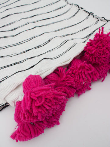 Scribble Stripe Cotton Pom Pom Blanket