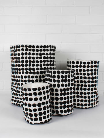 Block Printed Canvas Storage Pots