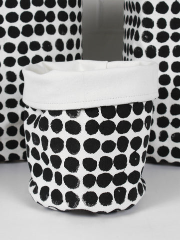Black Dot Print Canvas Storage Pots