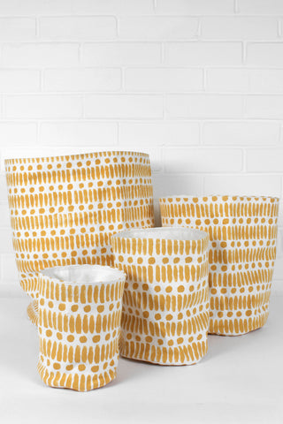 Dot Dash Print Canvas Storage Pots