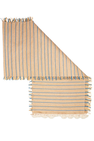 Woven Raffia and Leather Table Runner