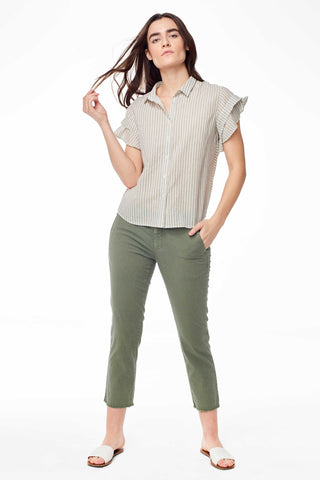 Genevieve Natural Stripe Button Up