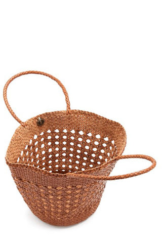 Dragon Diffusion Myra Cannage Basket Tote. Artisanal and handcrafted woven leather Myra Basket Tote Bag by Dragon Diffusion. Using traditional weaving techniques, this tote can take up to one day to make. Detailed open middle weave with braided and rounded handles and an open top design. Open top design. Unlined. 9 inches by 12 inches. Color tan. 100% Leather. One size.