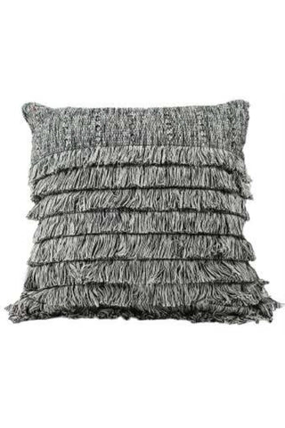 Tepeu Fringe Pillow by Del Palomar. Handmade in Guatemala. Handwoven authentic Guatemalan fabric pillow, featuring an intricately woven textured pattern and delicate layers of heathered fringe. Handwoven on a traditional footloom by local artisans in Chimaltenango, Guatemala. Color grey. 100% cotton.
