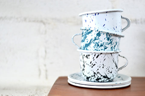 Graphic Painted Enamelware Cups