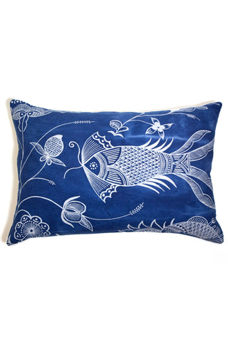 Hand-Drawn Fish Pattern Pillow