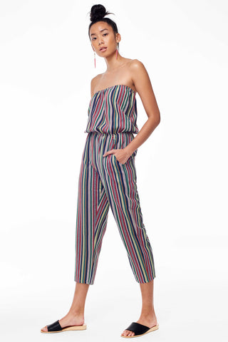 Elina Lebessi Spring 2018 Strapless Jumpsuit in Multi. Strapless woven jumpsuit with elastic at waist. Ankle crop leg with raw-hem pockets at hip. Small measures 45 inches from bust to hem. Color multi Blue. Sizes Small Medium Large.