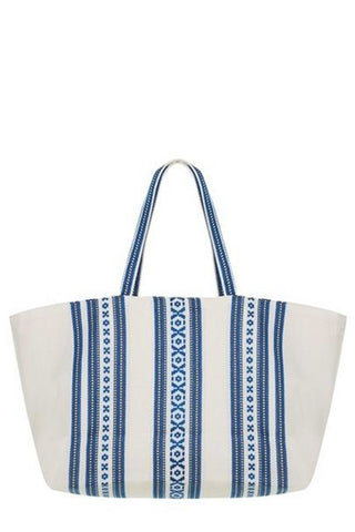Elina Lebessi Spring 2018 Elektra Beach Bag. Large woven tote bag with hand woven pattern. One inner pocket. Fully lined. Measures 18 inches wide by 12 inches long. 9 inch strap drop. Colors White and Navy. One size.