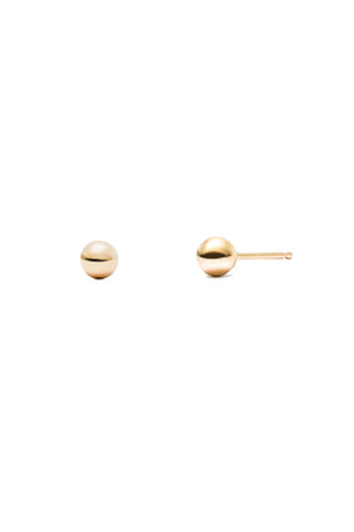 Edge of Ember Spring 2018 Globe Stud Earrings. Minimalist sphere studs. Post fastening for pierced ears. Ethically made in India. 6mm diameter. Colors gold silver. 18K gold plated sterling silver, Rhodium plated sterling silver. One size.