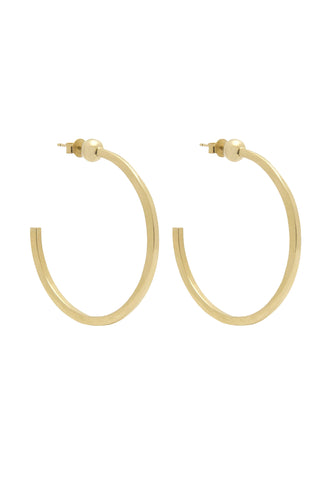 Edge of Ember Spring 2018 Aura Hoop Earring. Square cut hoop earring with ball detail. Post fastening for pierced ears. Open hoop earring silhouette. Ethically made in India. 1.75 inch diameter. Color gold. 18K gold plated sterling silver. One size.