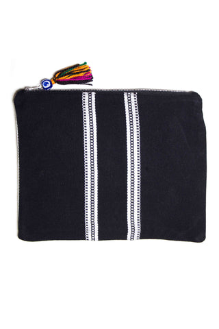 Elina Lebessi Elektra Pochette in Black. Black and white woven pattern; zip closure with small tassel. Handcrafted by artisans in rural areas in a small workshop outside of Crete. Waterproof interior lining making it the perfect travel accessory for packing toiletries or swimsuits. Small measures 5.5 inches by 8.5 inches. Large measures  8.5 inches by 11 inches. Color black. Sizes Small Large.