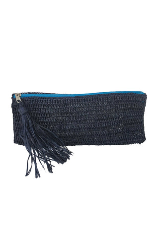 Emily Navy Crocheted Raffia Clutch