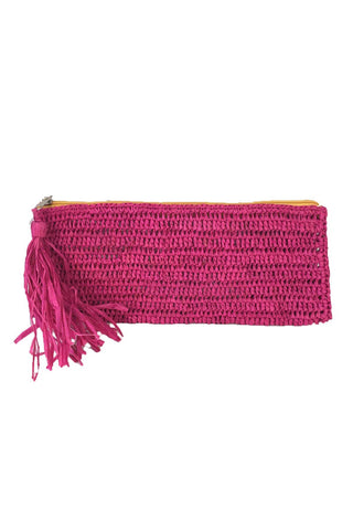Emily Pink Crocheted Raffia Clutch