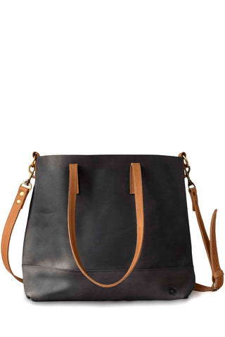 Abera Black & Cognac Cross Body Tote