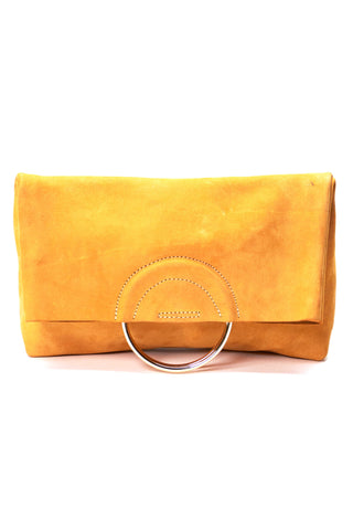 "The new Fozi clutch by Fashionable. With enough space for all your goodies, this functional statement piece is sure to take your style to the next level. Handcrafted in Ethiopia with 100% leather. Features brass handles in gold color and a magnetic closure with unlined interior. Available in Black and Yellow. 7.5"" H x 14"" W x 3.5"" D"