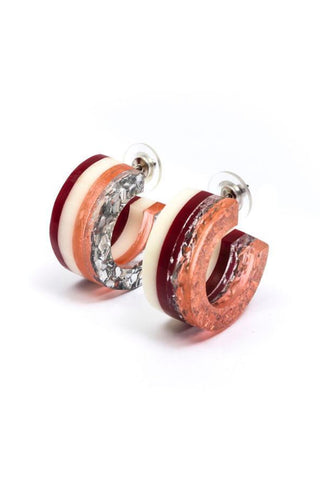 Gloria Striped Red Hoop Earrings
