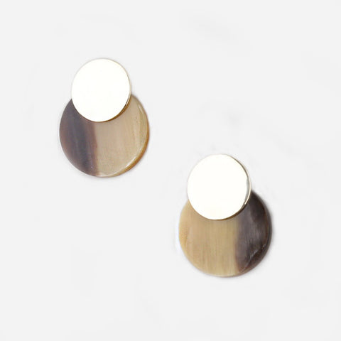 Contrast Coin Stud Earring