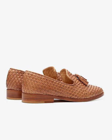 Frida Brown Woven Leather Loafer
