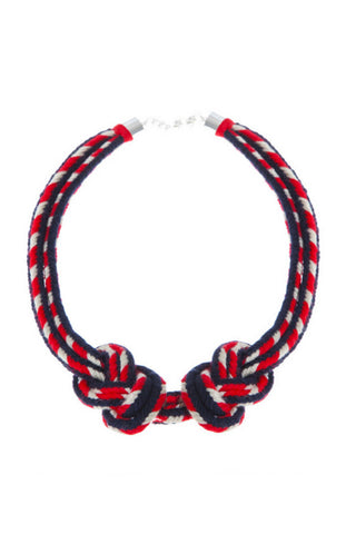 Hilo Sagrado Spring 2018 Sailor Knot Statement Necklace. Hand braided tonal statement choker. Brushed silver lobster claw clasp. Color navy red white. One size.