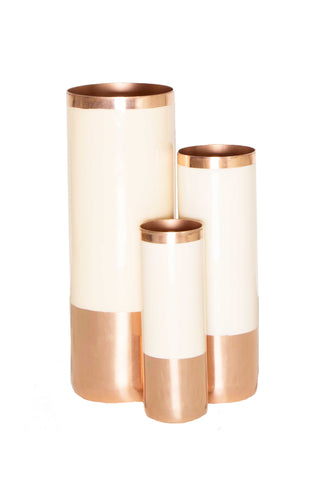 "Louise Enameled Vase from Hawkins New York. Copper or brass-plated finish. Enamel wrapped. Debossed branding at bottom. Mix and match for modern home decor. Makes a perfect gift- just add flower. Add to your dining room table to set the mood. Food safe. Hand wash. Available in Copper and Brass.Measurements  Small- 2"" diameter, 5.75"" height Medium-2.5"" diameter, 8"" height"