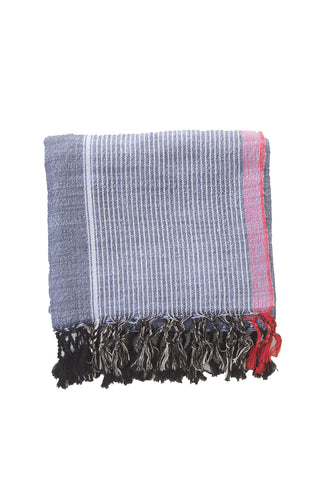 Mykonos Towel by Home & Loft. Handwoven in Turkey. These Turkish cotton towels, also know as Pestemals, are known for their comfort, durability, and absorbency. They are suited for everyday use and require less space, drying time, and laundering than a terrycloth towel. Color navy pink. 100% cotton.