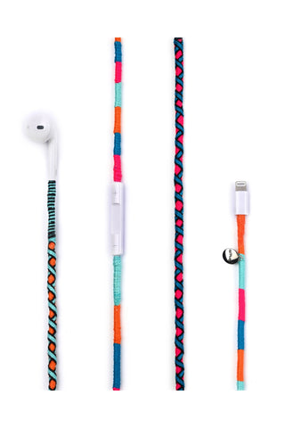Rainbow Falls Earphones by Happy-Nes. Handcrafted in Turkey. Apple earphones are defined by the geometry of the ear, making them more comfortable for long-term wear than any other earbud-style headphone. Includes built-in microphone and remote for adjusting volume and play-back. Lightning input, compatible with iPhone and other Apple products. Color multi.