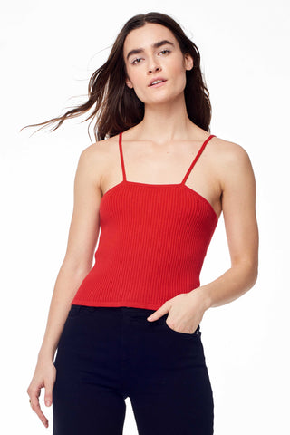 "Hesperios Spring 2018 Gayle Strappy Tank Top. Ribbed strappy tank in pima cotton. Fitted and soft. Thin straps. Square neckline. Color red. Small measures 19"" from shoulder to hem. 100% pima cotton. Sizes X-Small Small Medium Large."